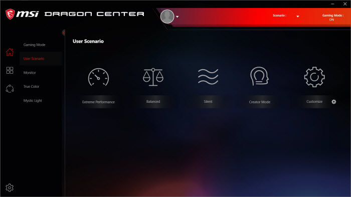 an interface of Dragon Center