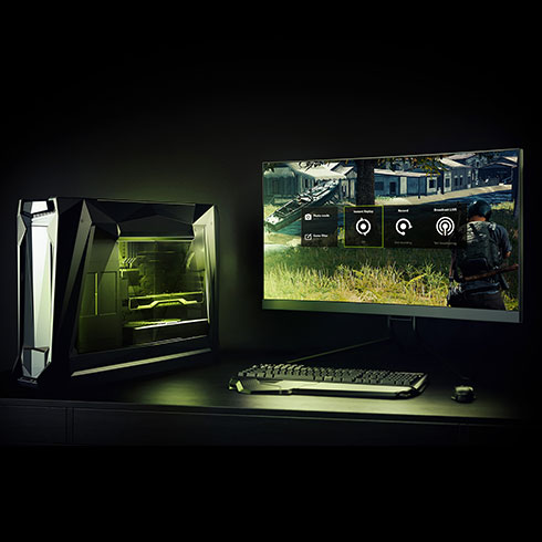 a gaming PC setup capturing games via GeForce Experience