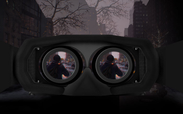 a VR headset showing two people in its lens