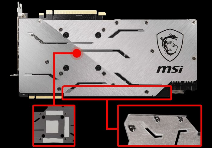 close look at the backplate of MSI RTX 2070 Super GAMING X 8GB