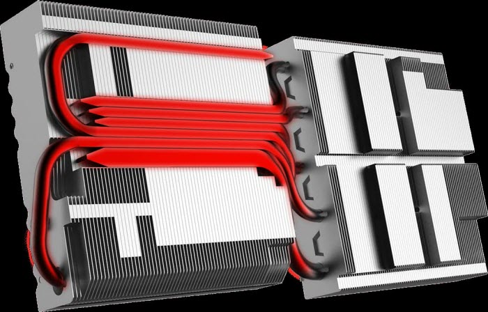 diagram of heatpipes on the aluminum heatsink