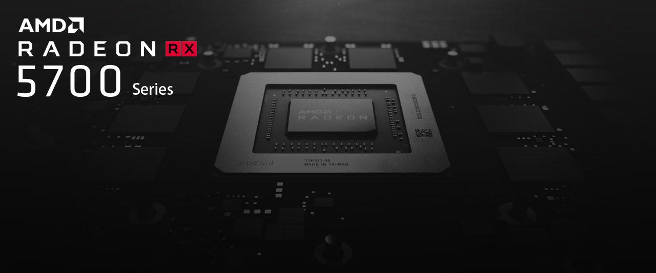 Closeup of AMD Radeon RX 5700 GPU