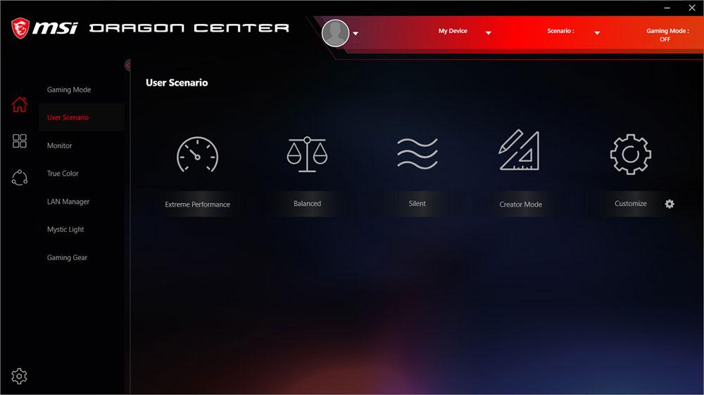 Screenshot of the Dragon Center