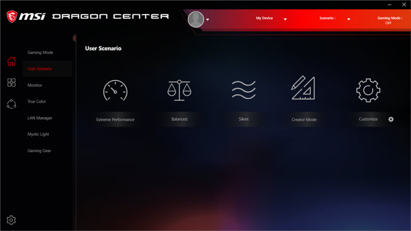a screenshot of Dragon Center