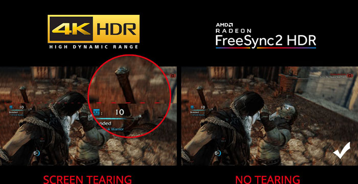 a comparison between screen tearing and no tearing