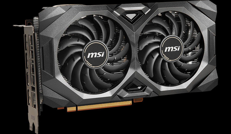 MSI Radeon RX 5700 MECH OC graphics card angled to left