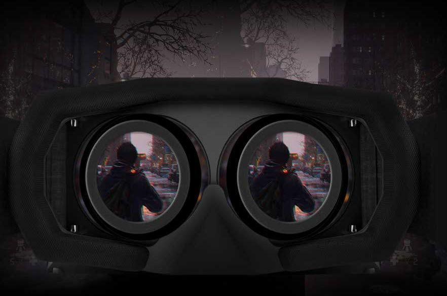 a VR headset showing a man shooting in a game