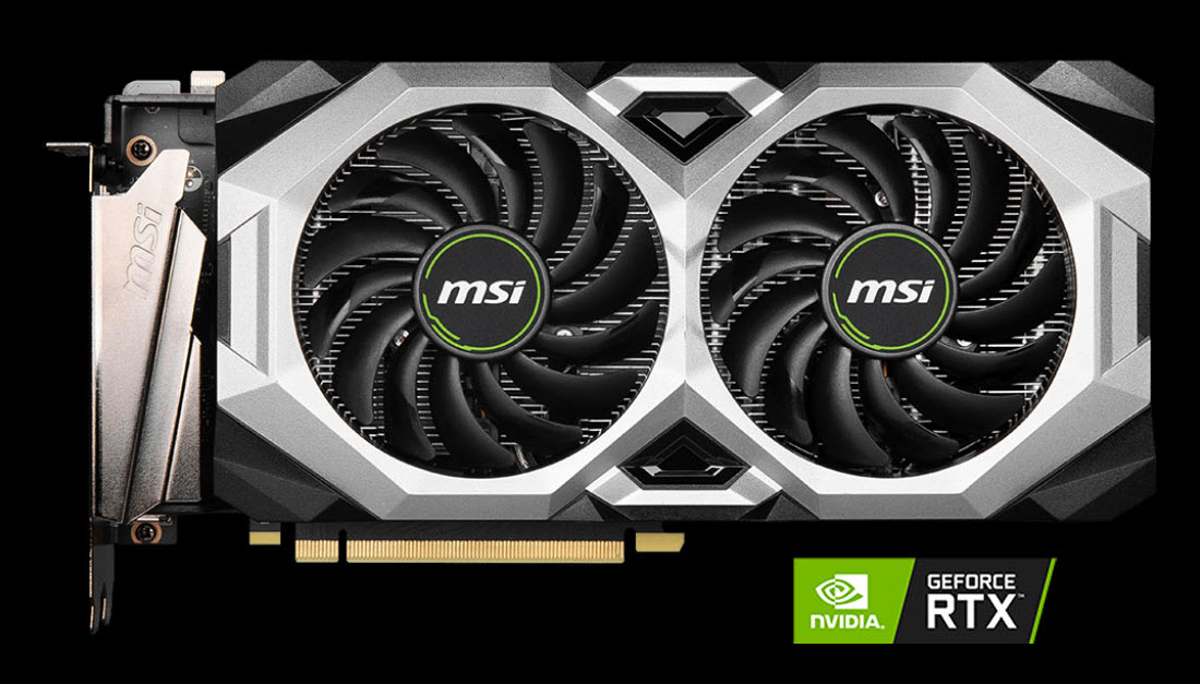 MSI GeForce RTX 2060 SUPER VENTUS XS OC video card angled to right with a NVIDIA RTX logo