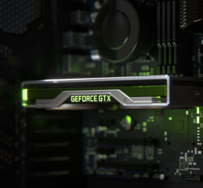 Top view of an NVIDIA graphics card on a motherboard, with GeForce GTX logo illuminated