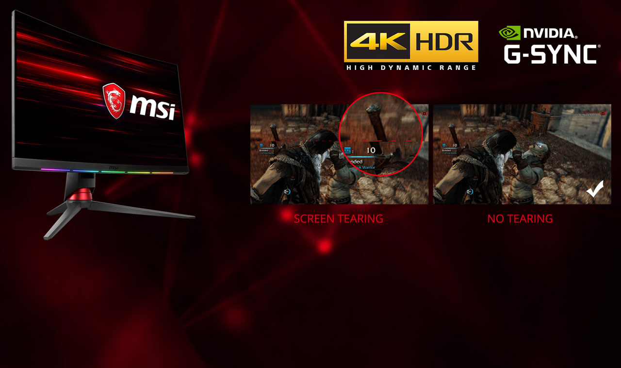 On the left part of this picture is a MSI gaming monitor on the left. On the right is a comparison between screen tearing and no tearing. At the top right are 4K HDR logo and NVIDIA G-Sync logo