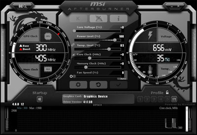 Screenshot of the MSI Afterburner software