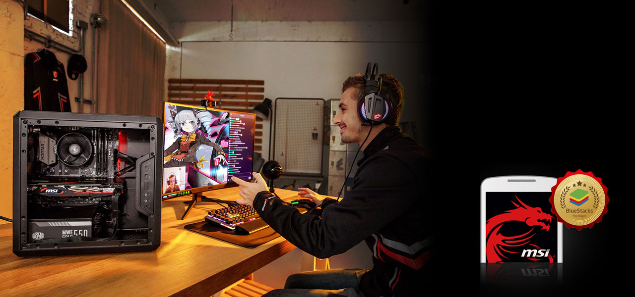 A man streaming live with a MSI graphics card powered PC, sitting in front of an LCD monitoring and wearing MSI gaming headphones