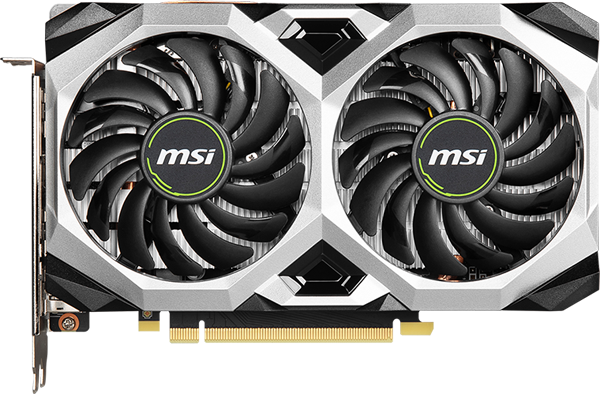 Front view of the MSI GeForce GTX 1660 SUPER VENTUS XS OC in standing position
