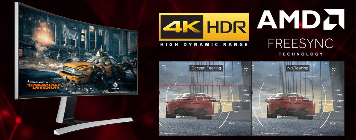 At the left of this picture is the front view of a monitor in standing position, angled slightly to the right, with screen showing game scene of Tom Clancy: the Division. At the right of this picture is comparison of game scene between with and without screen tearing. Above the comparison scene are logos of 4K HDR and AMD FreeSync