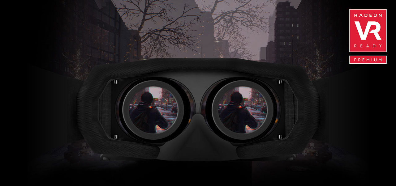Looking into a VR headset, with screen showing a character in a game. The background is the game scene