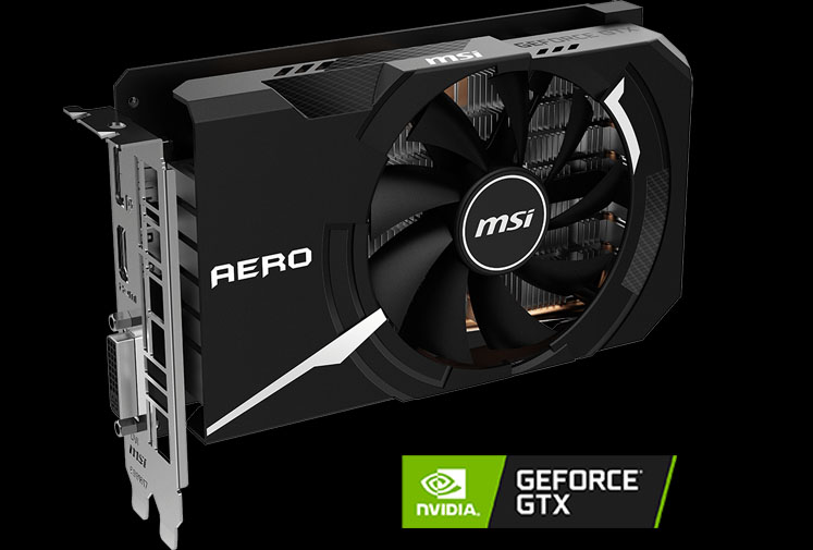 MSI GeForce GTX 1650 SUPER AERO ITX OC video card angled to right with a NVIDIA RTX logo