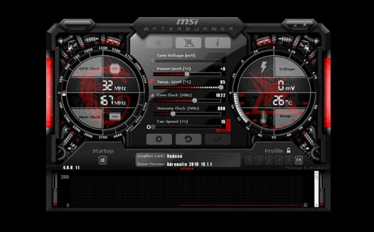 The interface for MSI Afterburner