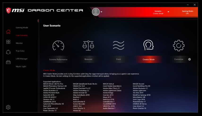The User Scenario Interface for MSI Dragon Center
