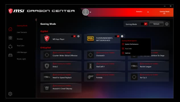 The Gaming Mode Interface for MSI Dragon Center