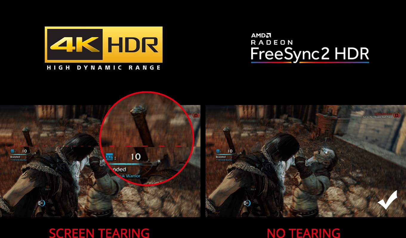 Two pictures with one having screen tearing and the other one having not