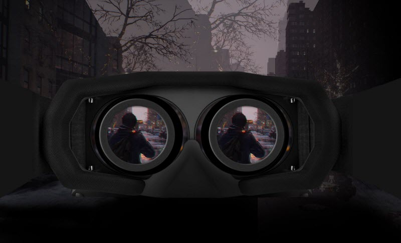Part of a scene is displayed on the lenses of VR goggles.