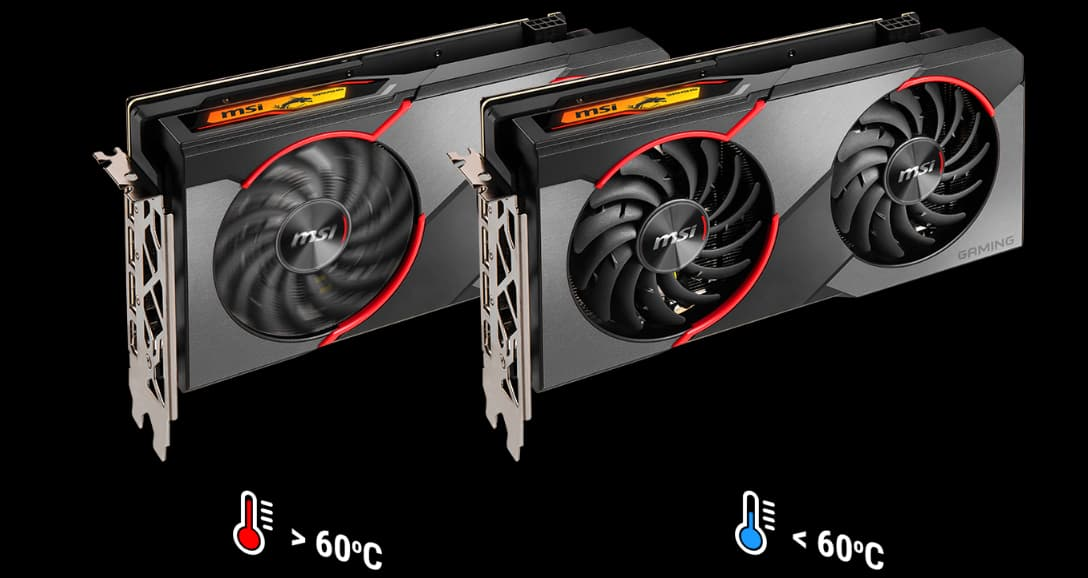Two graphics cards, one's fans spinning when temperature is >60 degrees Celsius and the other's fans staying static when temperature is <60 degrees Celsius, are next two each other.
