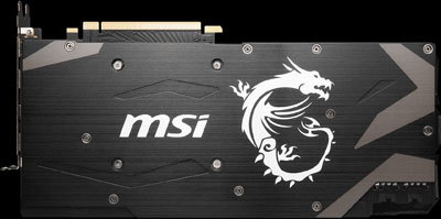 Rear of this graphics card, showing a back plate with MSI brand and dragon logo