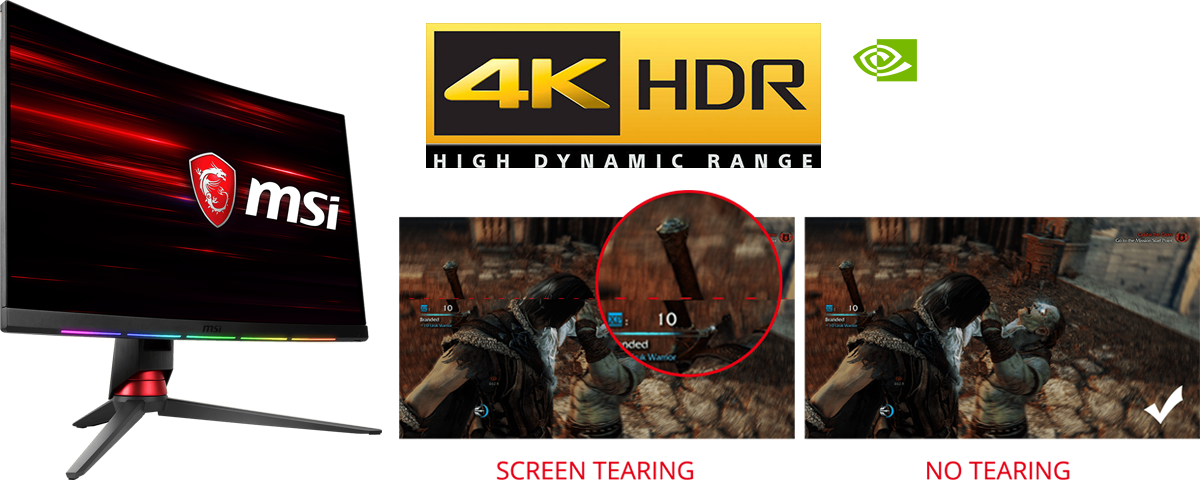Two game scenes showing comparison between screen tearing and no tearing. Above them are logo of 4K HDR and logo of NVIDIA G-Sync. Next to them on the left is the monitor facing to the right