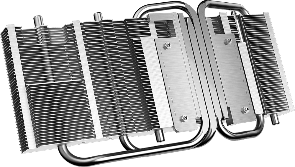 The rear of the heat sink, consisting of fins, heat pipes, and base plate