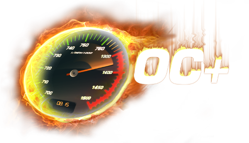 OC+ flaming clock graphic logo