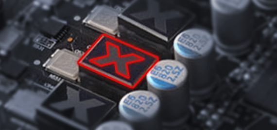 Closeup of the XFX Radeon RX 590's inductors