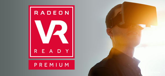 Radeon VR Ready Premium banner showing a man with a VR headset looking towards a bright light source