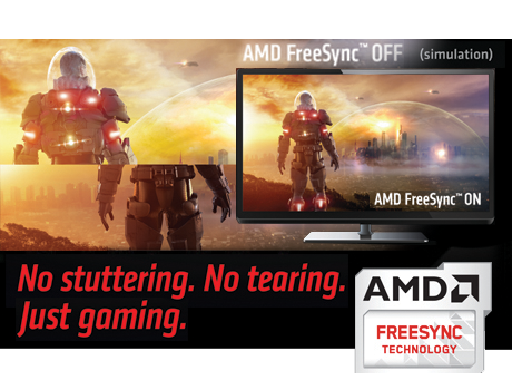AMD FreeSync 2 banner showing a compatible monitor with no tearing compared to the background image that shows a scifi game screenshot torn in half