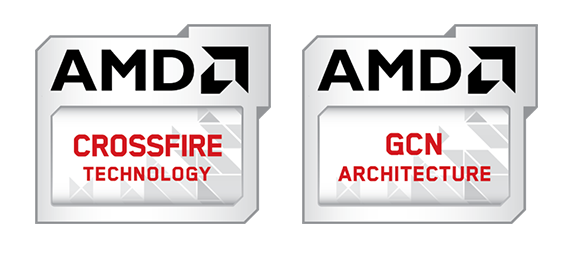 AMD Crossfire Technology and AMD GCN Architecture Logos