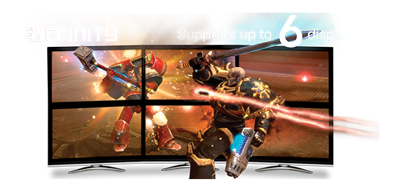 AMD Eyefinity Banner showing six displays creating an in-game fight scene between a hammer-wielding warrior and sword-wielding warrior