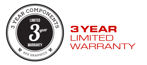 XFX 3-year limited warranty badge and text that reads: with registration at www.xfxsupport.com