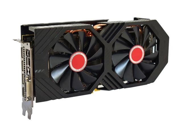 XFX Radeon RX 590 graphics card floating facing slightly to the right
