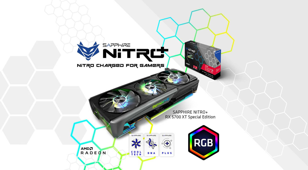 Sapphire Tech logo and SAPPHIRE NITRO+ RX 5700 XT Special Edition side view and packing box