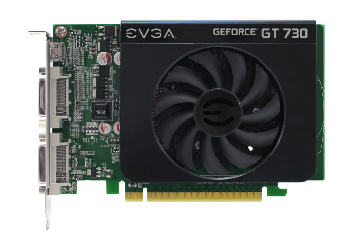 EVGA GeForce GT 730 Graphics Card Facing Forward