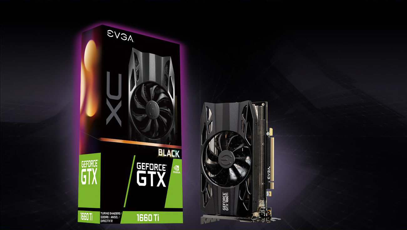The EVGA GTX 1660 Ti standing up next to its product box