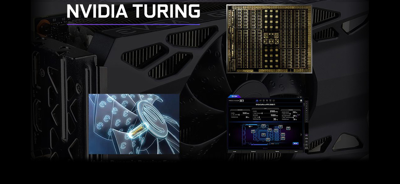 NVIDIA TURING banner showing the chipset architecture, a diagram of the fan's structure and a graphical UI of the customizing software
