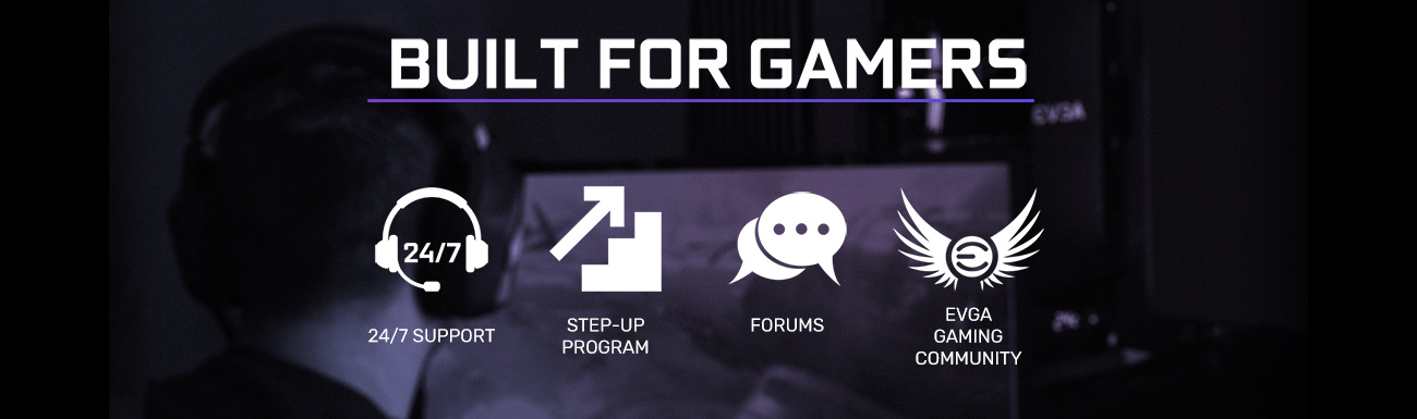 BUILT FOR GAMERS text with 24/7, Step-up program, forums and EVGA Gaming Community logos