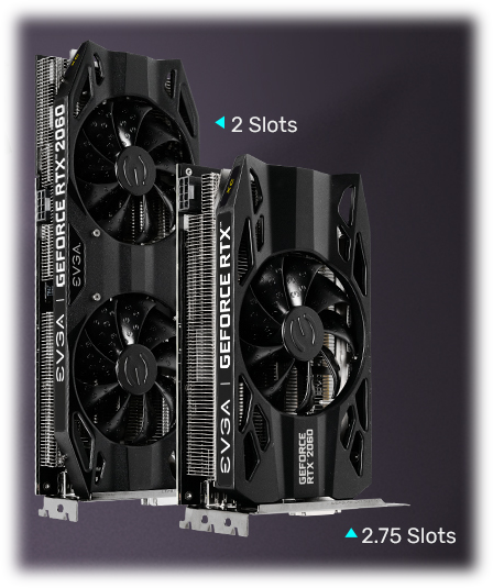 Two graphics cards standing side by side, the left card is larger and has text that reads 2 Slots, while the smaller card on the right reads 2.75 slots