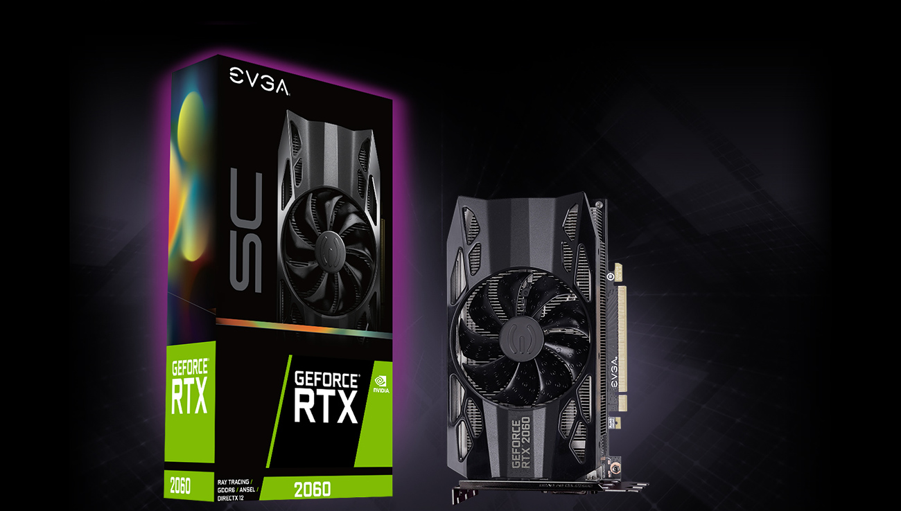 The EVGA 06G-P4-2062-KR standing up on its side next to its product box