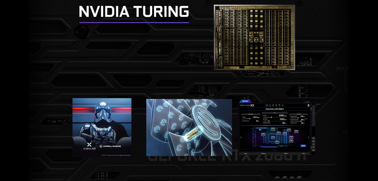 NVIDIA Turing banner with a shot of the circuitry blueprint, a Star Wars Battlefront 2 Video Game Screenshot, a Graphic showing a close up of the graphics card's fan, and a screenshot of the Precision X1 software window