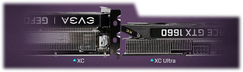 Closeup of two evga gtx 1660 cards lying down flat next to one another. The taller card on the left is labeled XC while the thinner card on the right is labeled XC Ultra