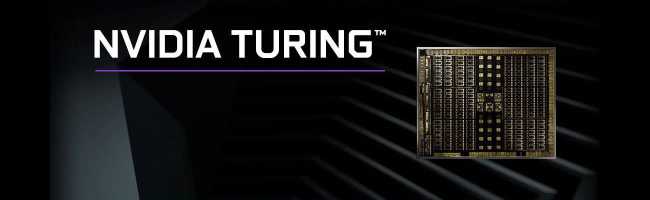 NVIDIA TURING text with an image of the graphics card's circuitry architecture