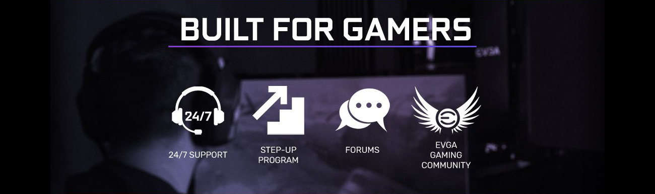 Text that reads: built for gamers. There is also text and graphics for 24/7 support, step-up program, forums and EVGA gaming community