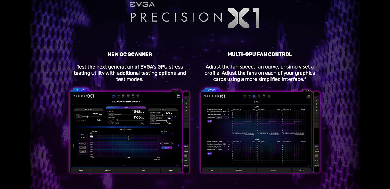 EVGA Preicions X1 logo above two software windows, the left is the NEW OC SCANNER with text that reads: Test the next generation of EVGA's GPU stress testing utility with additional testing options and test modes. The 2nd software window is the MULTI-GPU FAN CONTROL with text that reads: Adjust the fan speed, fan curve, or simply set a profile. Adjust the fans on each of your graphics cards using a more simplified interface.