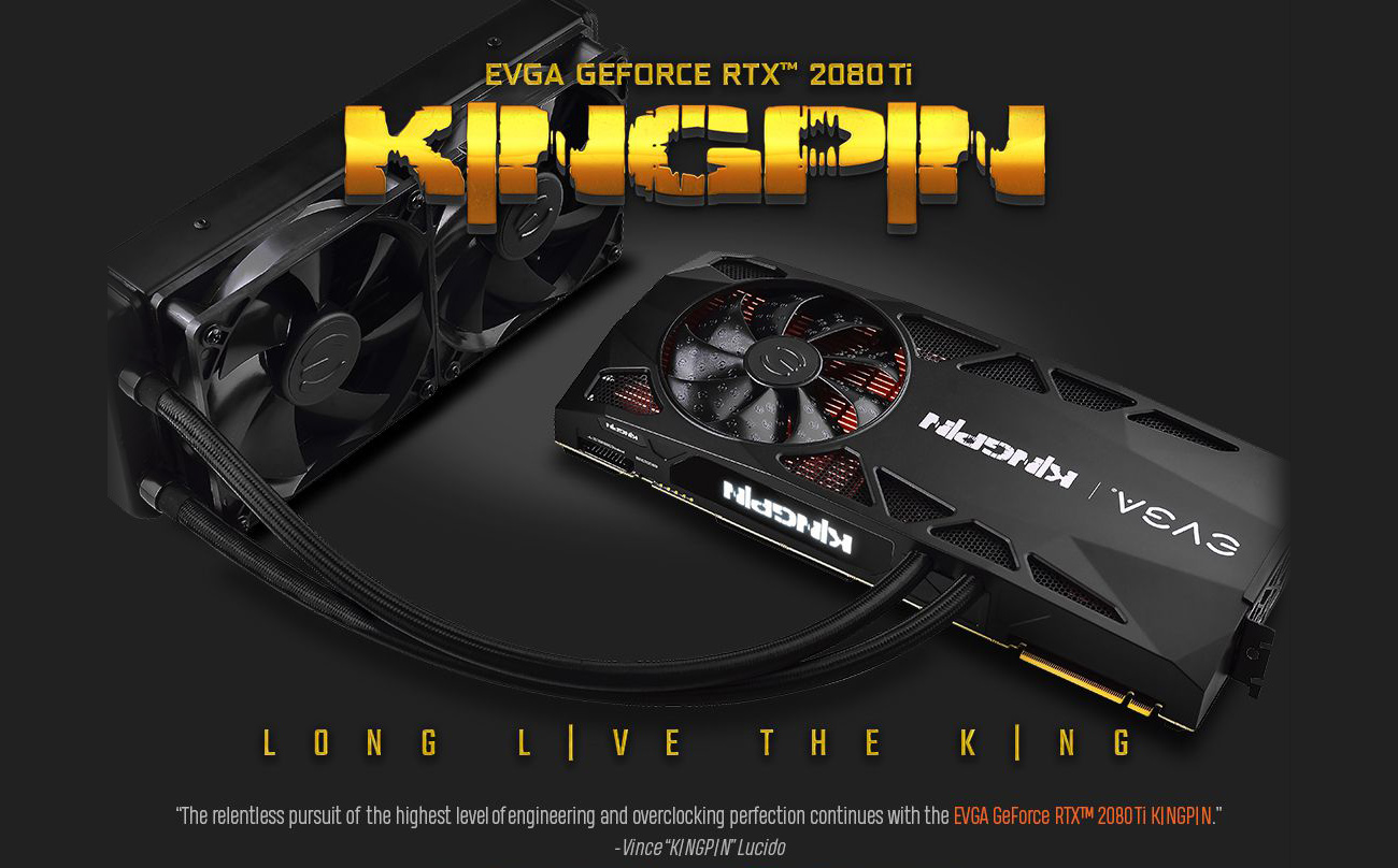EVGA GEFORCE RTX 2080 TI 1G-P4-2589-KR KINGPIN Graphics Card with text that reads: LONG LIVE THE KING - The relentless pursuit of the highest level of engineering and overclocking perfection continues with the EVGA GeForce RTX 2080 Ti KINGPIN. - Vince KINGPIN Lucido